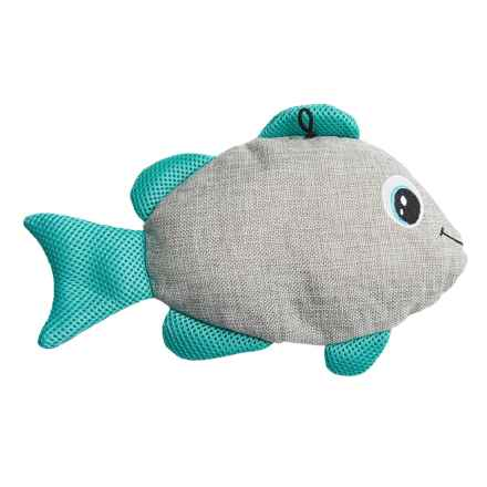 Bow-Wow Pet Gone Fishin' Crinkle Dog Toy - Built-In Squeaker in Tan/Blue - Closeouts