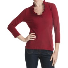 Box Pleat V-Neck Shirt - 3/4 Sleeve (For Plus Size Women) in Red - 2nds