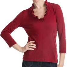 Box Pleat V-Neck Shirt - 3/4 Sleeve (For Women) in Red - 2nds