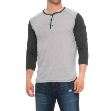 Boxercraft Home Run Henley Shirt - 3/4 Sleeve (For Men) in Charcoal - Overstock