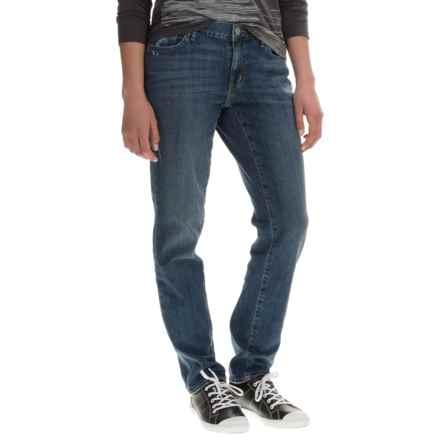 Boyfriend Denim Jeans - Slim Fit (For Women) in Medium Blue - 2nds