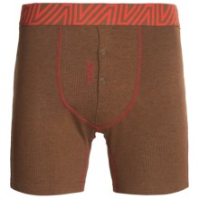 BR4SS Fitted Boxers - Stretch Cotton (For Men) in Heather Brown/Red - Closeouts