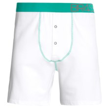 BR4SS Fitted Boxers - Stretch Cotton (For Men) in White/Seafoam - Closeouts