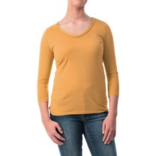 Braid Neck Cotton-Modal Shirt - 3/4 Sleeve (For Women) in Gold - 2nds