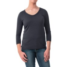 Braid Neck Cotton-Modal Shirt - 3/4 Sleeve (For Women) in Navy - 2nds