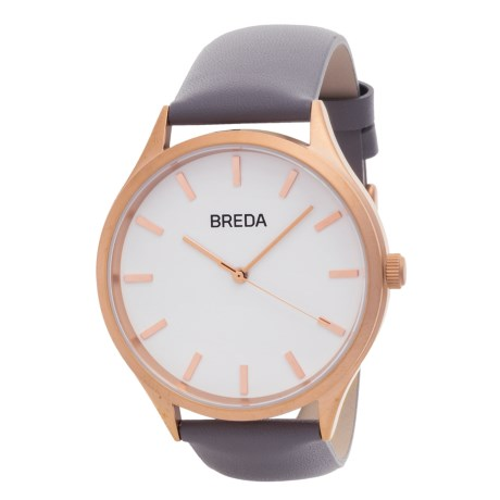 Breda Asper Watch - Leather Strap (For Women) in Rose Gold/Gray