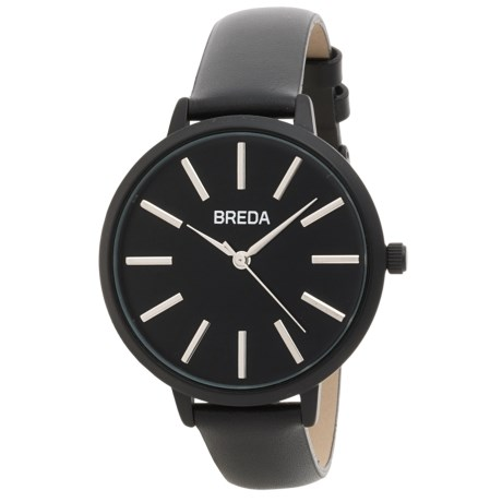 Breda Joule Analog Watch - Leather Band (For Women) in Black/Black