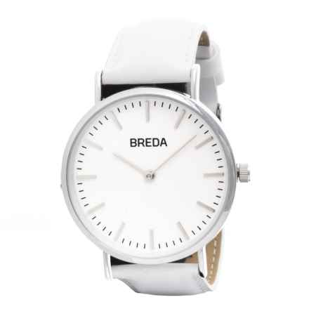 Breda Lyra Watch - Leather Strap (For Women) in Silver/White - Closeouts
