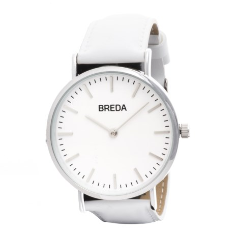 Breda Lyra Watch - Leather Strap (For Women) in Silver/White