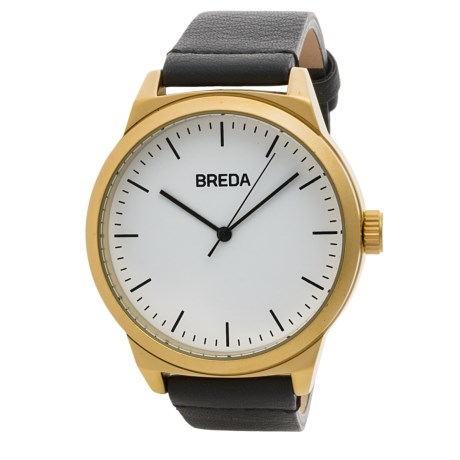 Breda Rand Watch - Leather Strap (For Men) in Gold/Black