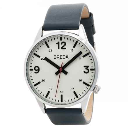 Breda Slate Analog Watch - Leather Band (For Men) in Silver/Navy - Closeouts