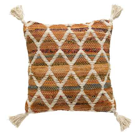 "Brentwood Diamond Chindi Throw Pillow - 18x18"" in Orange - Closeouts"