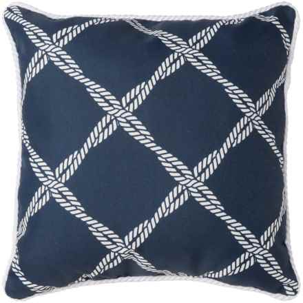 "Brentwood Lattice Print Indoor/Outdoor Throw Pillow - 17x17"" in Navy - Closeouts"