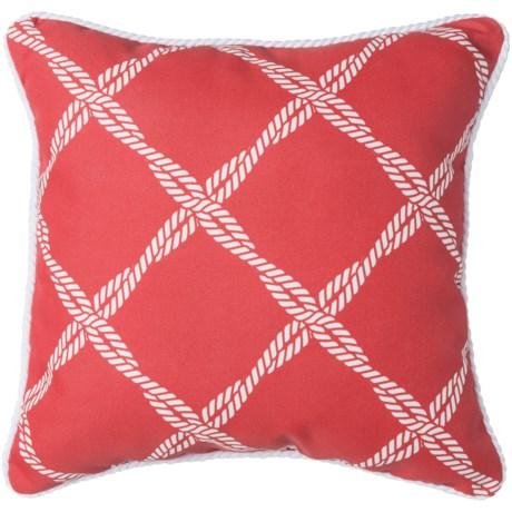 """Brentwood Lattice Print Indoor/Outdoor Throw Pillow - 17x17"""" in Red"""