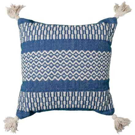 "Brentwood Made in India Textured Diamond Tassel Throw Pillow - 18x18"" in Indigo - Closeouts"