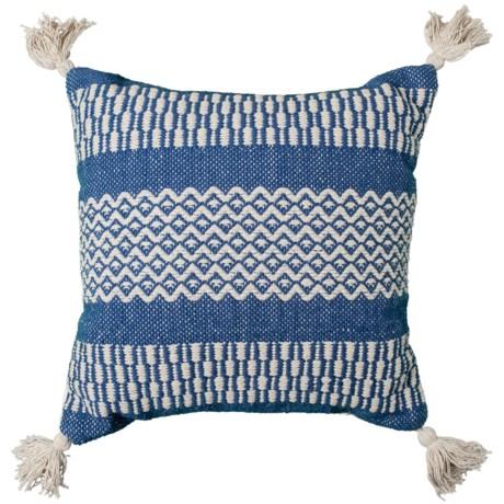 "Brentwood Made in India Textured Diamond Tassel Throw Pillow - 18x18"" in Indigo"