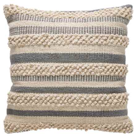"Brentwood Made in India Textured Natural Pillow -18x18"" in Grey/Natural - Closeouts"