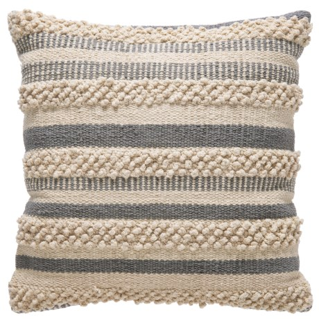 "Brentwood Made in India Textured Natural Pillow -18x18"" in Grey/Natural"