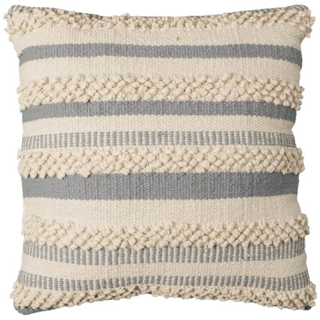 """Brentwood Made in India Textured Stripe Throw Pillow - 18x18"""" in Grey/Natural"""