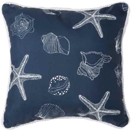 "Brentwood Starfish Print Indoor/Outdoor Throw Pillow - 17x17"" in Marine - Closeouts"