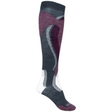 Bridgedale Control Fit Ski Socks - Merino Wool, Midweight, Over-the-Calf (For Women) in Gunmetal/Plum - Closeouts