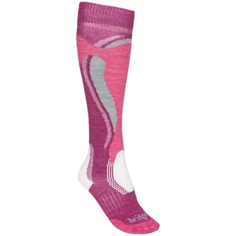 Bridgedale Control Fit Ski Socks - Midweight (For Women) in Berry/Pink