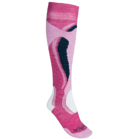 Bridgedale Control Fit Ski Socks - Midweight (For Women) in Raspberry/Pink