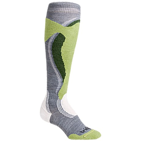 Bridgedale Control Fit Ski Socks - Midweight (For Women) in Stone/Spring/Green