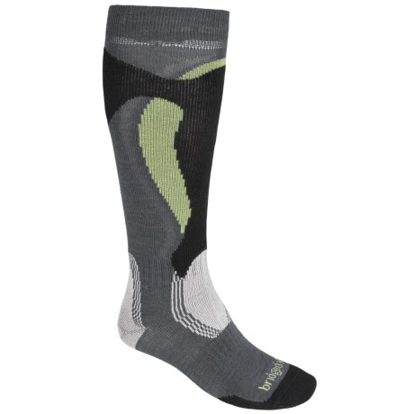 Bridgedale Control Fit Socks - Midweight, Merino Wool (For Men and Women) in Gunmetal/Black/Green