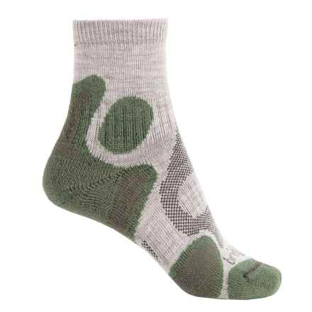 Bridgedale CoolFusion Trail Diva Socks - Merino Wool, Quarter Crew (For Women) in Stone/Sage - 2nds