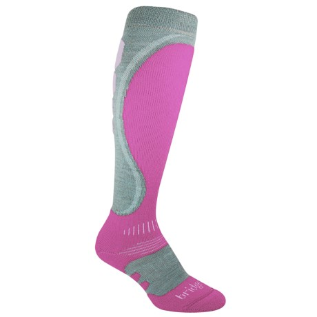 Bridgedale Heel Fit Ski Socks - Merino Wool, Midweight (For Women) in Dove Grey/Raspberry