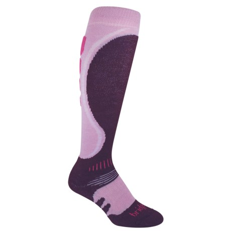 Bridgedale Heel Fit Ski Socks - Merino Wool, Midweight (For Women) in Light Pink/Plum