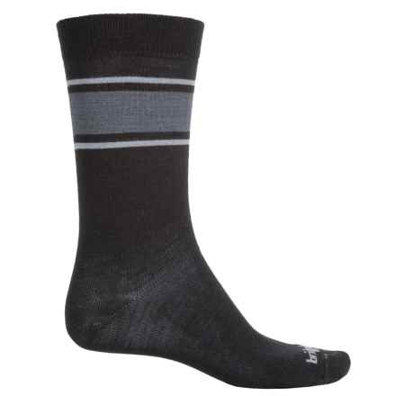 Bridgedale Hiking Liner Socks - Wool Blend, Crew (For Men) in Black/Light Grey - Closeouts