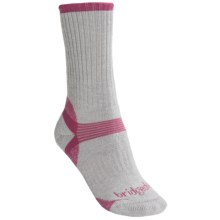 Bridgedale Merino Hiker Socks - Merino Wool, Crew (For Women) in Grey Heather/Magenta - 2nds