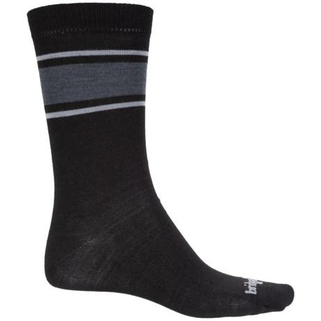 Bridgedale Merino Wool Liner Socks - Crew (For Men) in Black/Light Grey