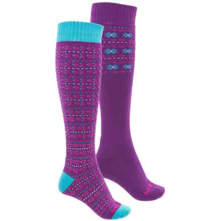 Bridgedale Merino Wool Ski Socks - 2-Pack, Over the Calf (For Women) in Purple/Blue - Overstock