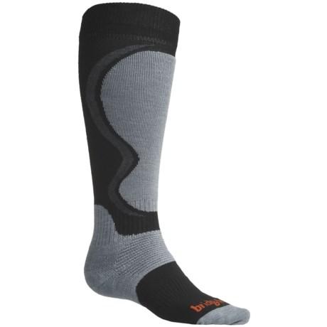 Bridgedale Merino Wool Ski Socks (For Men) in Gunmetal/Poppy