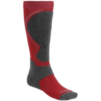 Bridgedale Merino Wool Ski Socks (For Men) in Gunmetal/Poppy