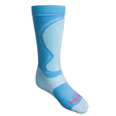 Bridgedale Merino Wool Ski Socks - Lightweight (For Women) in Light Blue / Blue