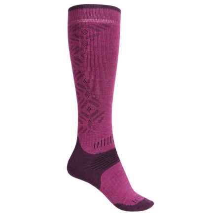 Bridgedale MerinoFusion All Mountain Ski Socks - Merino Wool, Over the Calf (For Women) in Berry/Plum - Closeouts