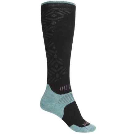 Bridgedale MerinoFusion All Mountain Ski Socks - Merino Wool, Over the Calf (For Women) in Black/Jade - Closeouts