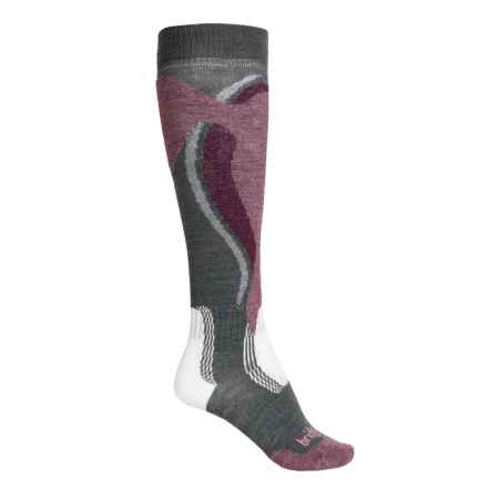 Bridgedale MerinoFusion Control-Fit Ski Socks - Merino Wool, Over the Calf (For Women) in Gunmetal/Plum - Closeouts