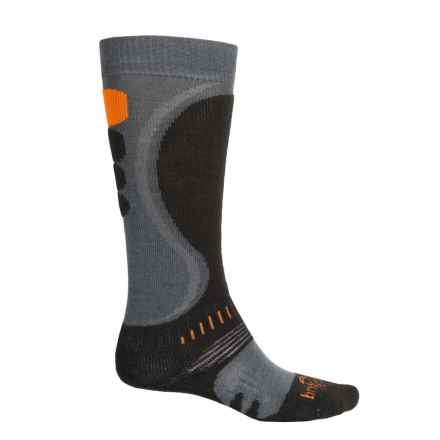 Bridgedale MerinoFusion Heel-Fit Ski Socks - Merino Wool, Over the Calf (For Men) in Gunmetal/Black - Closeouts