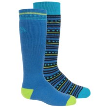 Bridgedale MerinoFusion Ski Socks - 2-Pack, Over the Calf (For Kids) in Blue/Lime - Closeouts