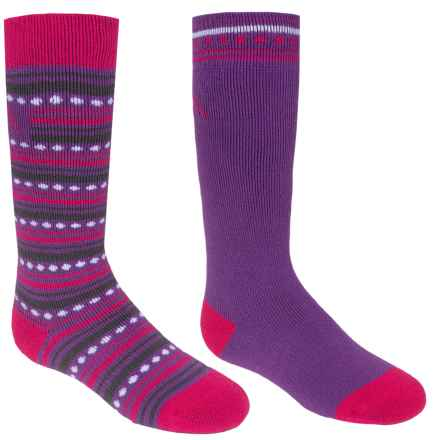 Bridgedale MerinoFusion Ski Socks - 2-Pack, Over the Calf (For Kids) in Fuchsia/Purple - Closeouts