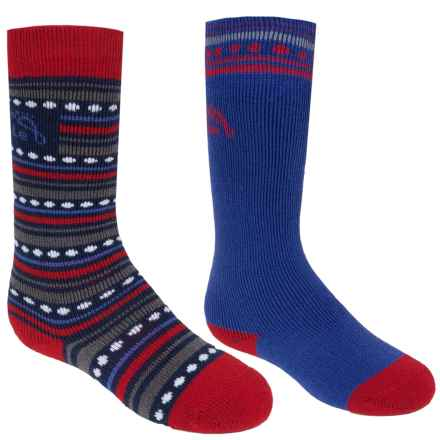 Bridgedale MerinoFusion Ski Socks - 2-Pack, Over the Calf (For Kids) in Red/Royal - Closeouts