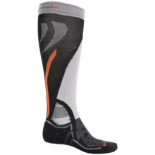 Bridgedale MerinoFusion Vertige Mid Ski Socks - Merino Wool, Mid Calf (For Men) in Black/Grey/Orange - 2nds