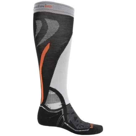 Bridgedale MerinoFusion Vertige Mid Ski Socks - Merino Wool, Mid Calf (For Men) in Black/Grey/Orange - 2nds