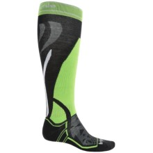 Bridgedale MerinoFusion Vertige Mid Ski Socks - Merino Wool, Mid Calf (For Men) in Black/Lime - 2nds