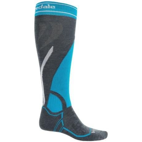 Bridgedale MerinoFusion Vertige Mid Ski Socks - Merino Wool, Mid Calf (For Men) in Gunmetal/Blue